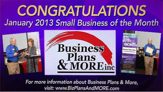 Business Plans and More won Small Business of the Month award for January 2013